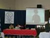El jurado observando el examen de Espindola en la pantalla gigante